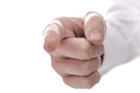 disciplina: Dedo de la mano masculina que se�ala en usted Aislado sobre fondo blanco