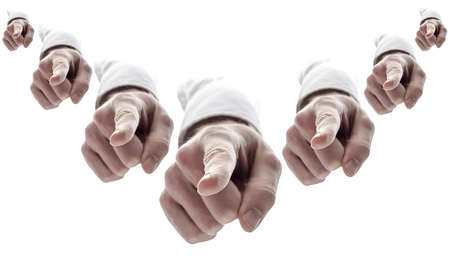 pointing finger: Many hands pointing finger at you  Isolated over white background
