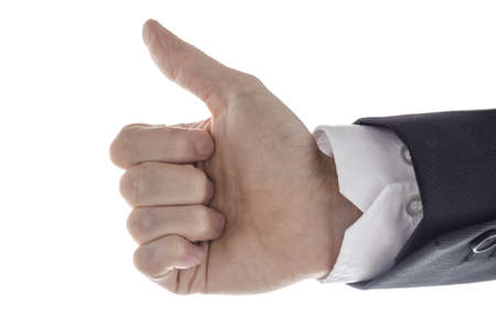 Side view of a business man showing an ok sign Stock Photo - 17508289