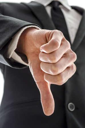 pulgar abajo: Hombre de negocios mostrando un pulgar hacia abajo gesto Foto de archivo