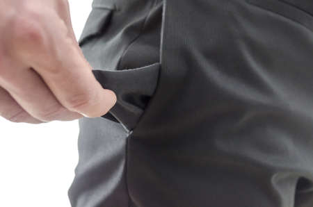 recession: Closeup of a man showing an empty pocket