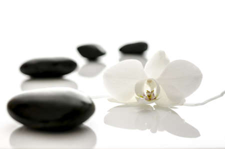 spa stones: Spa concept with water overflowing  orchid flower and black zen stones  Stock Photo
