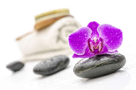 basalt: Wellness still life with violet orchid flower on a spa stone  Brush and a towel in background