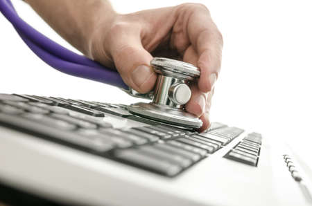 computer virus: Testing a computer keyboard with stethoscope