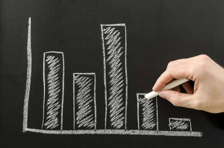 Male hand sketching business graph with a chart  photo