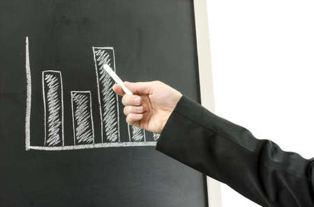 Business man hand showing business graph with a chart  photo