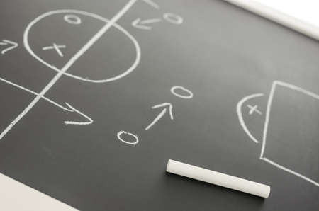 soccer pitch: Side view of a football strategy plan on a black  board. Focus on a chalk. Stock Photo