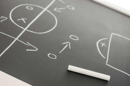 plan de accion: Vista lateral de un plan de estrategia de fútbol en un tablero negro. Centrarse en una tiza. Foto de archivo