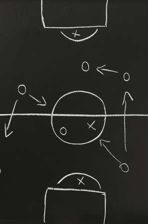 football pitch: Top view of game tactic  Organization plan of football players sketched with chalk on a board