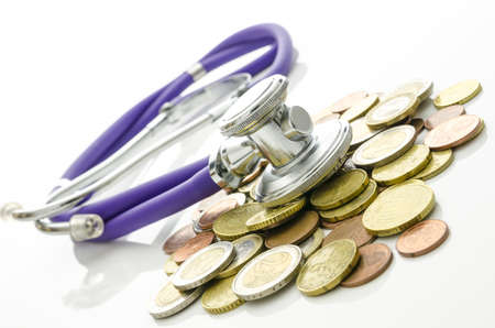 economical: Solution to financial crisis concept  Stethoscope on Euro coins