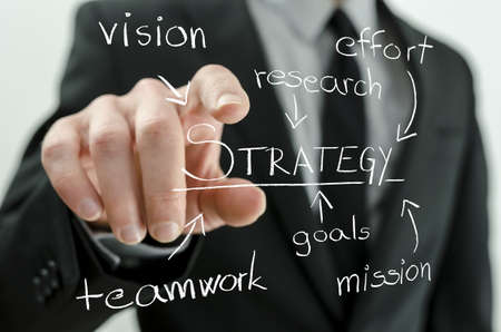 Closeup of business man pointing to a virtual flow chart representing his strategy of successful business  photo