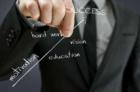 Business man holding virtual arrow of success and pulling it upwards  Arrow representing steps of  successful person  photo
