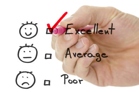 Male hand choosing excellent on a customer service evaluation form on a virtual whiteboard. photo