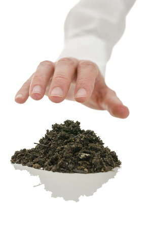 chi healer: Closeup of male hand healing soil with energy  Concept of alternative healing  Stock Photo