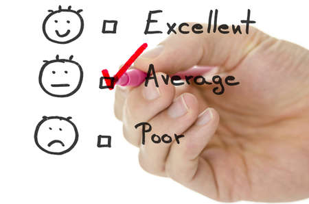 average: Customer service evaluation form with male hand drawing pink tick on average  Stock Photo