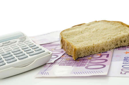 expensive food: Piece of bread on Euro banknotes  Representing how more and more expensive food is these days