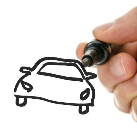Male hand drawing car on virtual whiteboard. photo