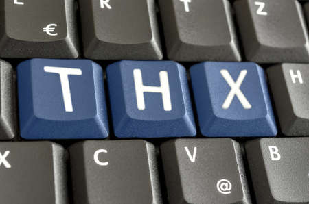 abbreviation: Abbreviation THX spelled on computer keyboard. Stock Photo