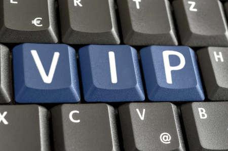 abbreviation: Abbreviation VIP written with blue keys on computer keyboard.