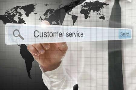 Phrase customer service written in search bar on virtual screen. photo