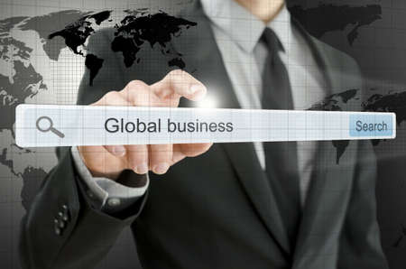 Global business written in search bar on virtual screen Stock Photo - 20015430