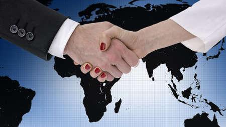 세계지도를 통해 악수하는 비즈니스 파트너 스톡 콘텐츠 - 20015429