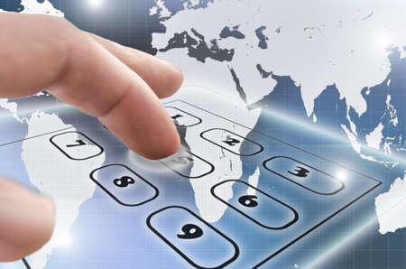 Male hand navigating virtual telephone keypad  photo