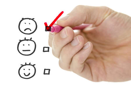 evaluating: Customer service evaluation form with male hand drawing pink check mark on poor