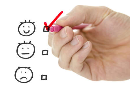 Customer service evaluation form with male hand drawing pink check mark on excellent  photo