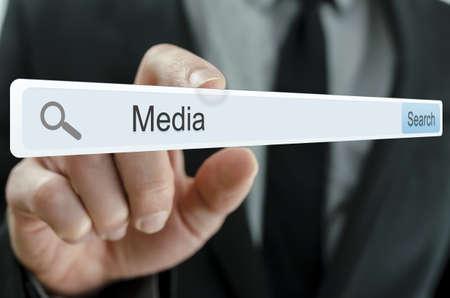 Word Media written in search bar on virtual screen Stock Photo - 20015464