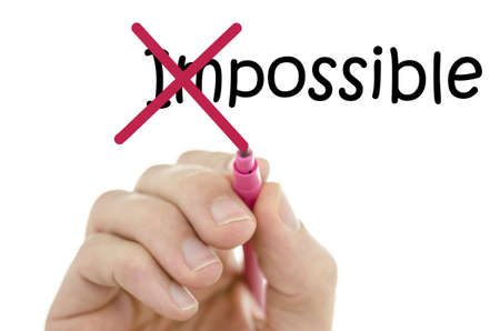 possibility: Crossing off the first two letters of word impossible. Stock Photo