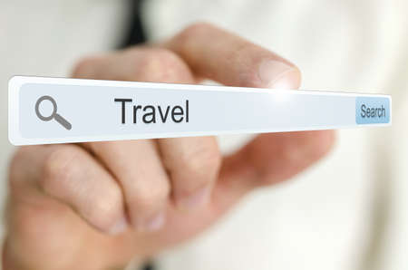 Word Travel written in search bar on virtual screen. Stock Photo - 20213946