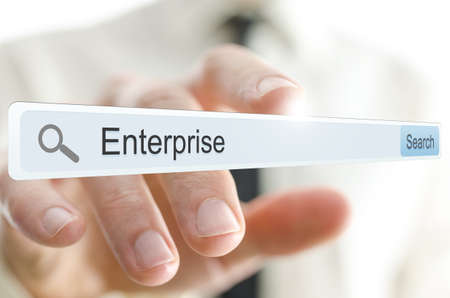 browser business: Word Enterprise written in search bar on virtual screen. Stock Photo