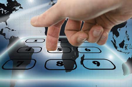 Detail of using virtual telephone keypad. photo