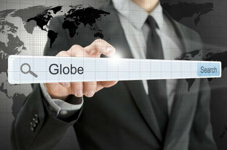 Word Globe written in search bar on virtual screen. Stock Photo - 20309377