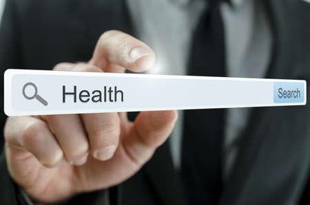 Word Health written in search bar on virtual screen. Stock Photo - 20309358