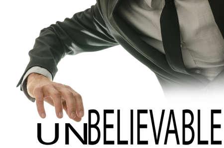 unbelievable: Cambiar la palabra incre�ble en Believable empujando lejos carta de la ONU.