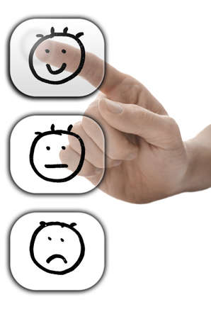 satisfactory: Male hand choosing smiley face on customer satisfaction form on virtual screen. Stock Photo