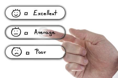 customer survey: Male hand choosing average on customer satisfaction form on virtual screen. Stock Photo