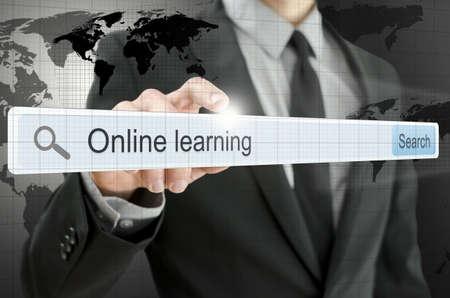 url virtual: Online learning written in search bar on virtual screen.