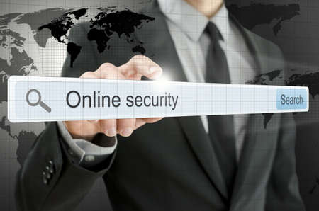 Online security written in search bar on virtual screen. Stock Photo - 20309429