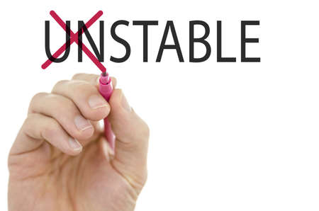 steadiness: Changing word Unstable into Stable by crossing off  letters UN.
