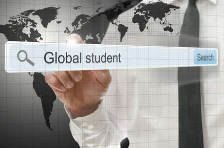 Global student written in search bar on virtual screen. Stock Photo - 20343233