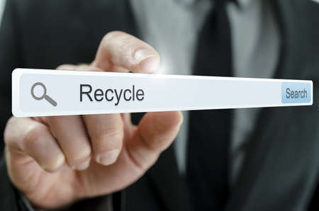 Word Recycle written in search bar on virtual screen. Stock Photo - 20343263