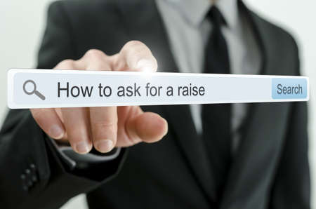 to raise: How to ask for a raise written in search bar on virtual screen.