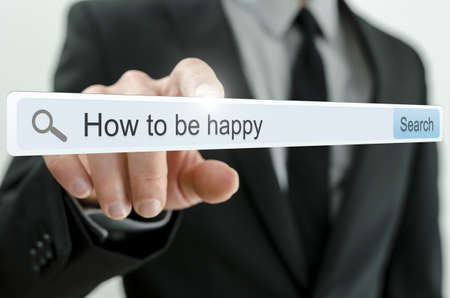 How to be happy written in search bar on virtual screen. Stock Photo - 20343246