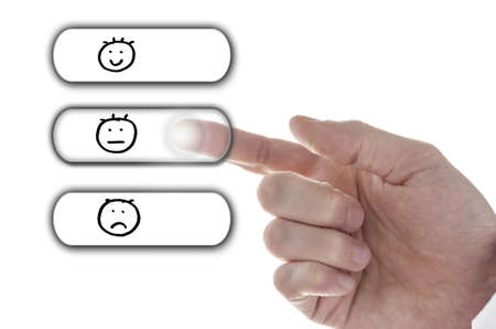 average: Male hand choosing Average icon on customer service evaluation form on virtual screen.