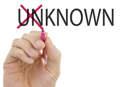 known: Changing word Unknown into Known by crossing off letters un.