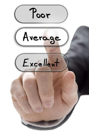 Male hand choosing average on customer service evaluation form on virtual screen.