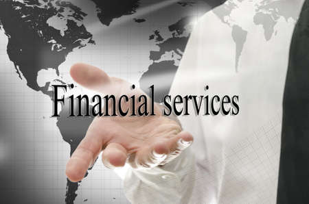 financial world: Business man navigating in virtual space presenting sign Financial services-